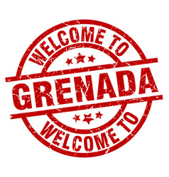 welcome to grenada red stamp vector image vector image