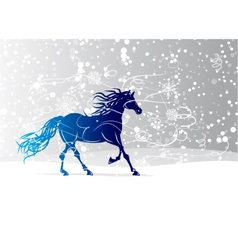 Blue horse sketch for your design Symbol of 2014 vector image