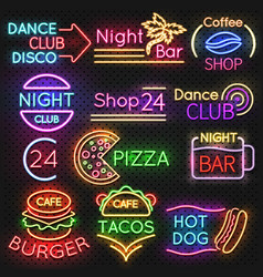 bright roadside neon signs fast food and beer pub vector image vector image