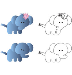 drawing of a cartoon cute toy baby elephant vector image vector image