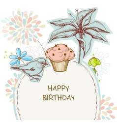 Happy birthday card cupcake bird and flowers vector image vector image