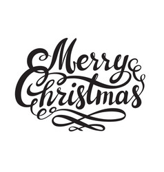 merry christmas hand drawn lettering isolated on vector image