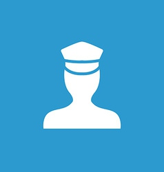policeman icon white on the blue background vector image