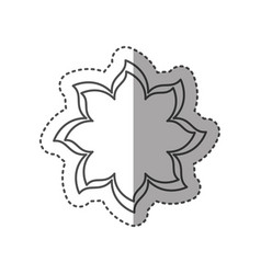 sticker black contour with flower icon vector image vector image
