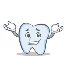 Confused face tooth character cartoon style vector