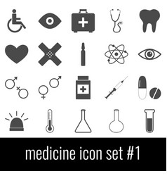 medicine icon set 1 gray icons on white vector image vector image
