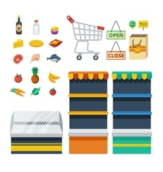 Supermarket decorative icons collection vector