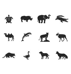 wild animal figures and shapes collection isolated vector image vector image
