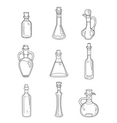 9 isolated doodle bottles sketchy hand drawn set vector image