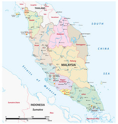 administrative map malaysia vector image