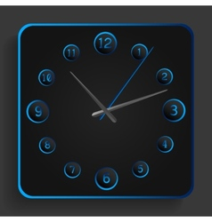Analog clock with blue neon lights vector