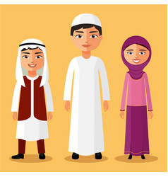 arab children standing cartoon vector image
