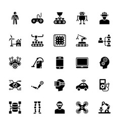 artificial intelligence glyph icons vector image