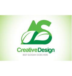 as green leaf letter design logo eco bio leaf vector image