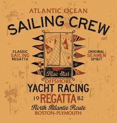 atlantic ocean sailing crew yacht racing vector image