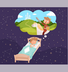 baby dreams sleeping children dreaming clouds vector image