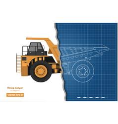 blueprint of mining dumper side back and front vector image