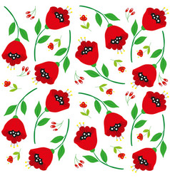 bright cartoon poppy flowers on white vector image