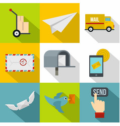 cargo delivery icons set flat style vector image