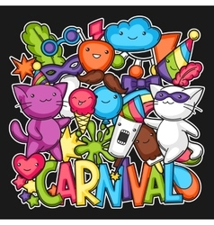 Carnival party kawaii print Cute cats vector