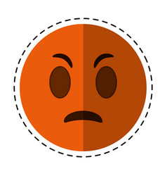 Cartoon angry emoticon funny icon vector