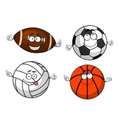 Cartoon isolated sport balls characters vector image