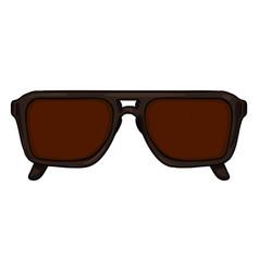 Cartoon sunglasses in brown plastic rim vector