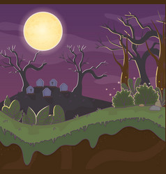 Cemetery gravestones dry trees trick or treat vector