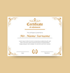 Certificate of achievement or diploma template vector