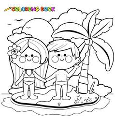 children at beach on an island vector image