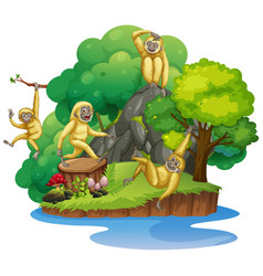 Chimpanzee on the isolated island vector