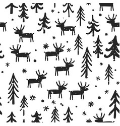 christmas seamless pattern with cartoon vector image