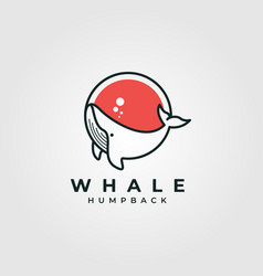 circle whale humpback logo design cute whale fish vector image