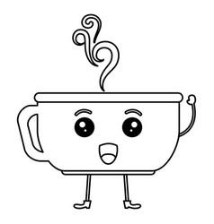 Coffee cup hot kawaii character vector