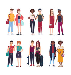 Collection young teenage couples dressed in vector