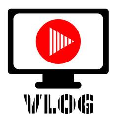 Computer vlog logo flat style vector