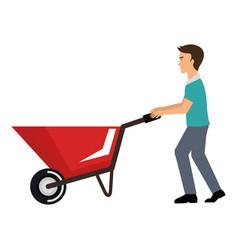 construction worker with wheelbarrow vector image