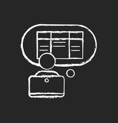 Data entry clerk chalk white icon on black vector