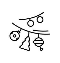 Decorative garlands line icon concept sign vector