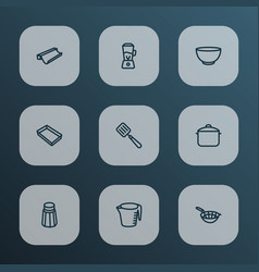 Dishware icons line style set with bowl saucepan vector