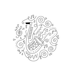 doodle trumpet coloring page vector image