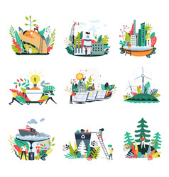 ecology and save nature environment icons vector image