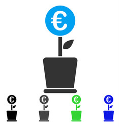 Euro project pot flat icon vector