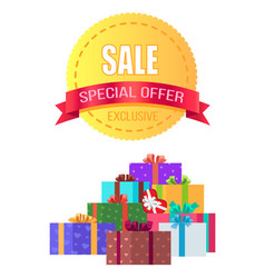 Exclusive sale special offer round emblem gift box vector