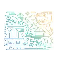 farm - line design composition - color gradient vector image