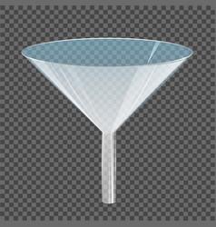 Glass transparent funnel vector