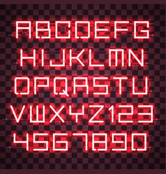 Glowing red neon alphabet vector