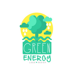 green and yellow logo original template with tree vector image