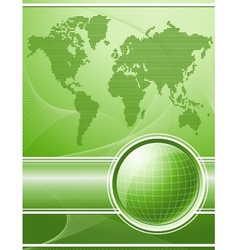 Green background with globe and world map vector image