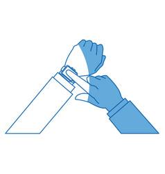 hands man business touch smart technology vector image